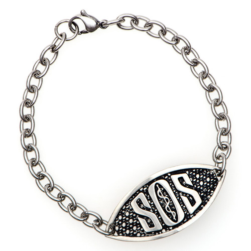 SOS Engraveable Bracelet with Traditional Chain