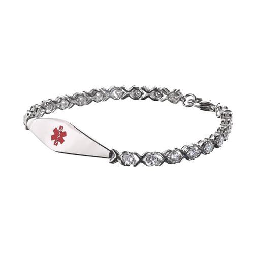 Rhodium Plated Silver Swarovski -Zirconia Bracelet (X links with four claw single stones)