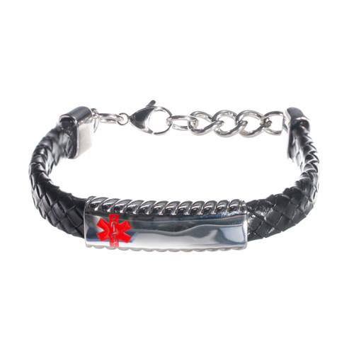Black Leather Braided Bracelet