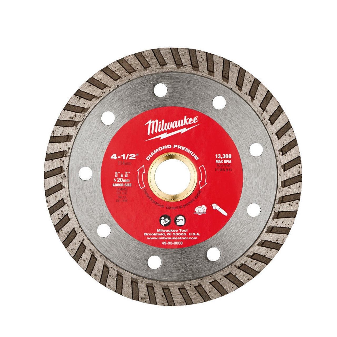 Milwaukee 49-93-8008 4-1/2 in. Diamond Premium Turbo Saw Blade