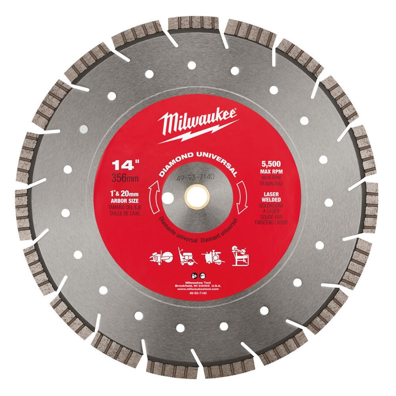 Milwaukee 49-93-7140 14 in Diamond Universal Segmented-Turbo Saw Blade
