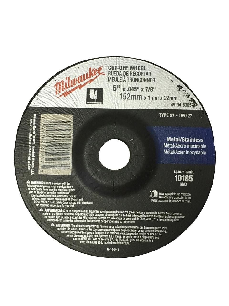 Milwaukee 49-94-6305 6 in x .045 in x 7/8 in Cut-Off Wheel (Type 27)