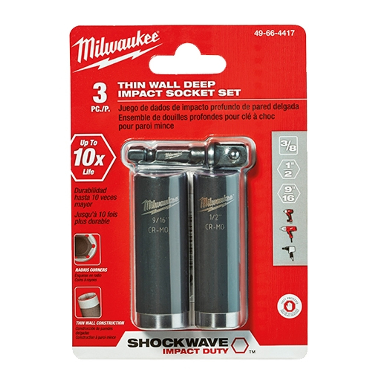 Milwaukee 49-66-4417 3 pc. Thin Wall Deep Impact Socket Set