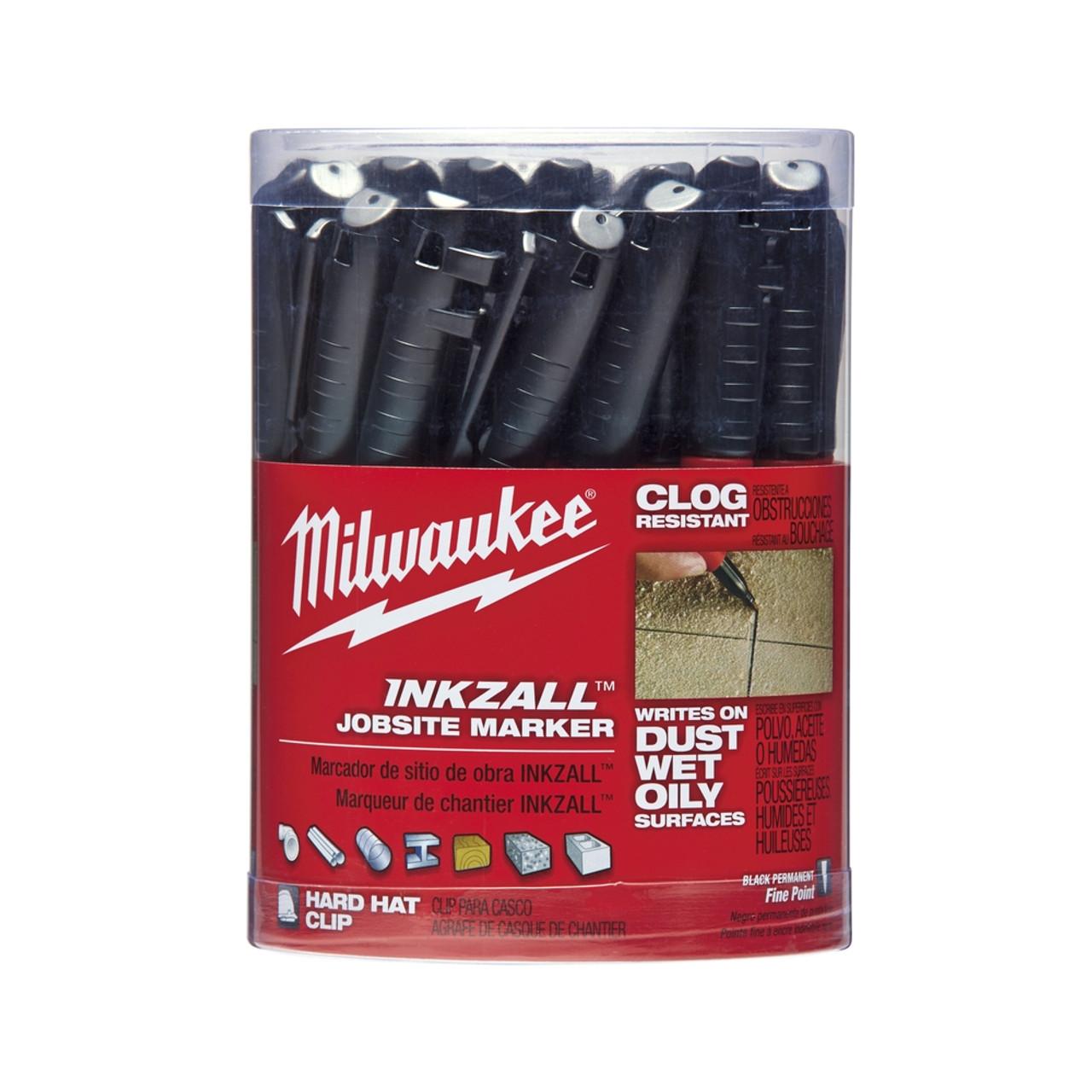 Milwaukee 48-22-3100 INKZALL Black Fine Point Marker 36 pk