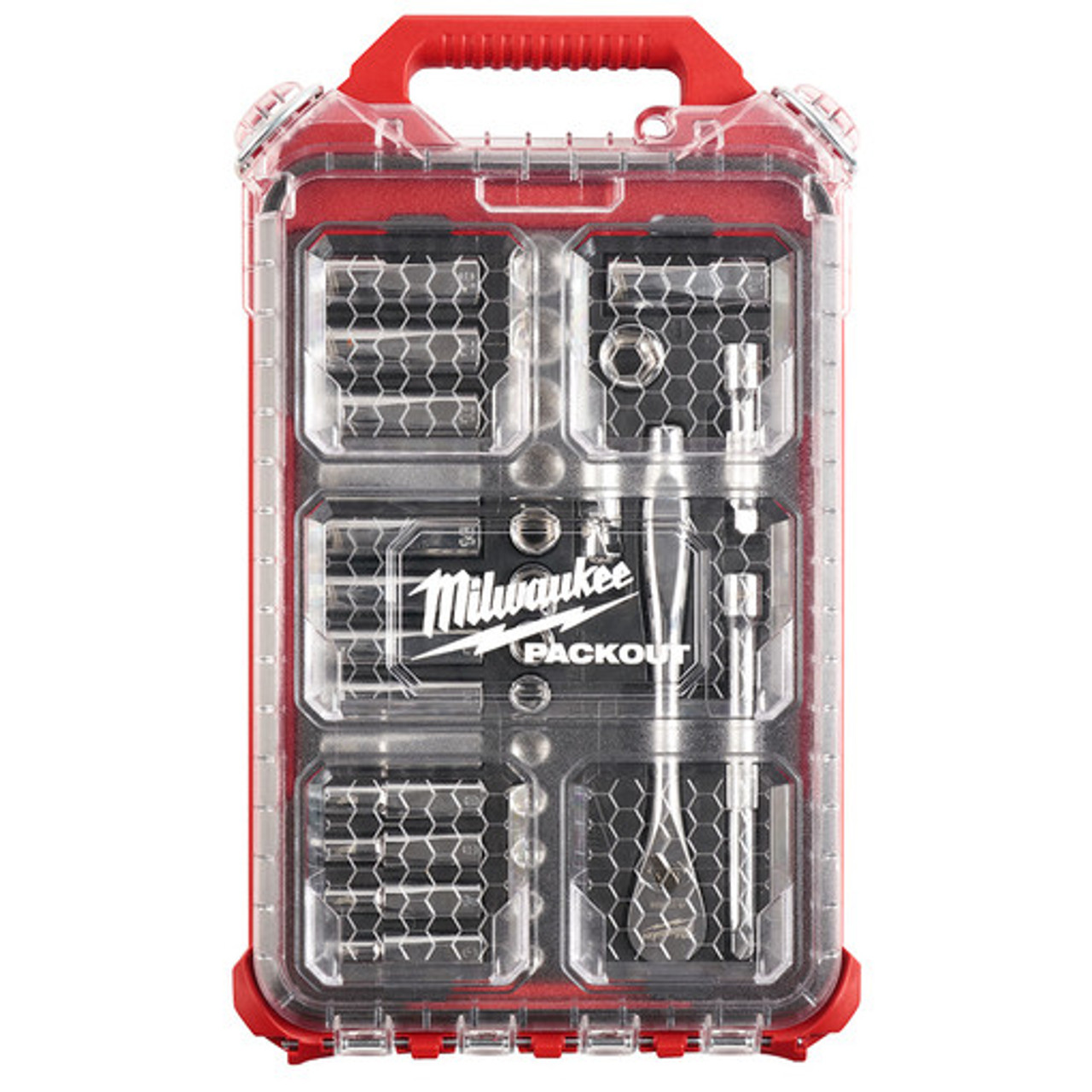 Milwaukee 48-22-9482 3/8 Drive 32 pc Ratchet & Socket Set with PACKOUT Low-Profile Compact Organizer - Metric