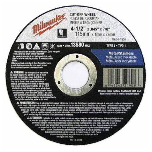 Milwaukee 49-94-4500 Cut-Off Wheel 4-1/2 in x .045 in x 7/8 in Type 1