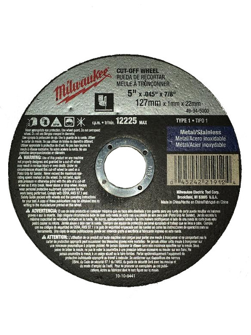 Milwaukee 49-94-5000 5 in. x .045 in. x 7/8 in. Cut-Off Wheel (Type 1)