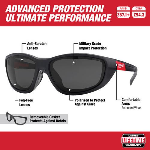 Milwaukee 48-73-2045 Polarized Performance Safety Glasses with Gasket