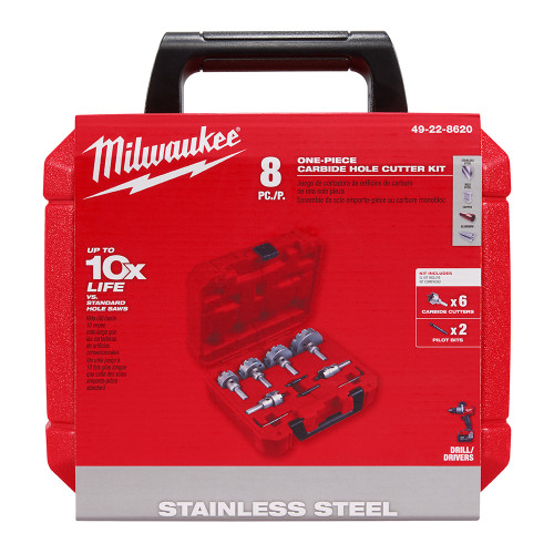 Milwaukee 49-22-8620 One-Piece Carbide Hole Cutter Set: 8PC