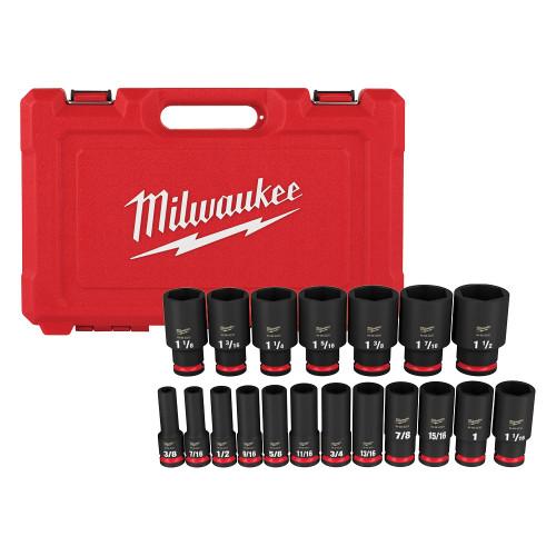 Milwaukee 49-66-7012 19pc SHOCKWAVE Impact Duty 1/2 Drive SAE Deep 6 Point Socket Set