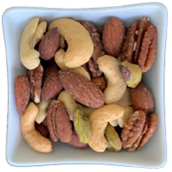 First Class Nut Mix is freshly-roasted buttery cashews mixed with almonds, pecans and pistachios.