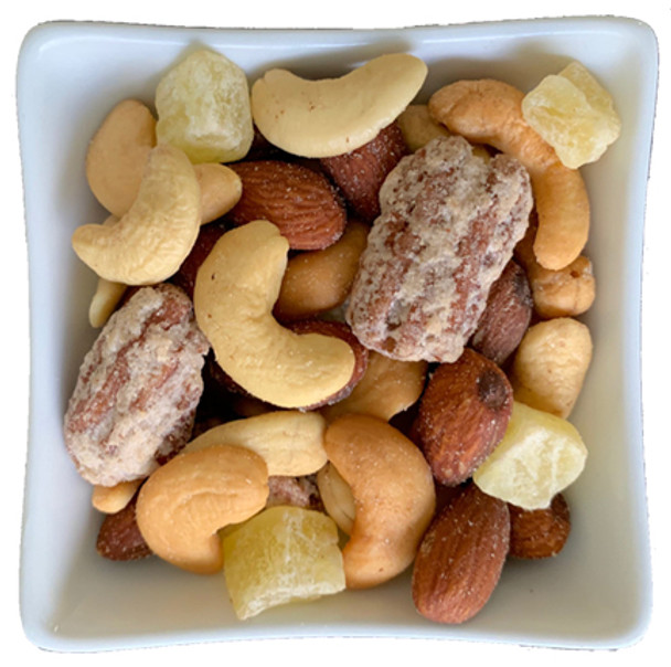 Aloha Nut Mix with freshly roasted cashews, almonds, plus Piña Colada pecans and pineapple