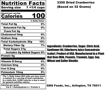 Dried Cranberries Nutritional