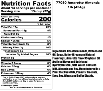 Amaretto Almonds Nutritional