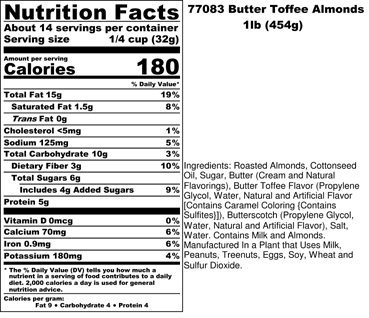 Butter Toffee Almonds Nutritional
