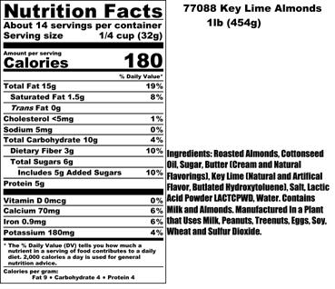 Key Lime Almond Nutritional