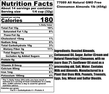 Cinnamon Almonds Nutritional