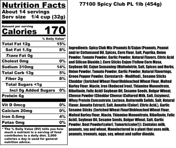 Spicy Club Mix Nutritional