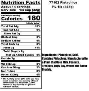 Pistachios Nutritional