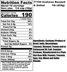 Roasted Salted Cashews Nutritional