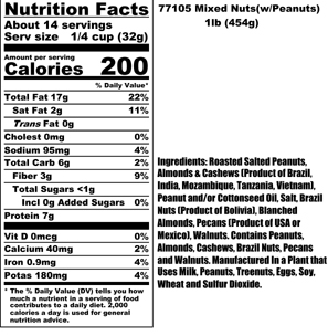Mixed Nuts Nutritional