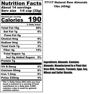 Raw Almonds Nutritional