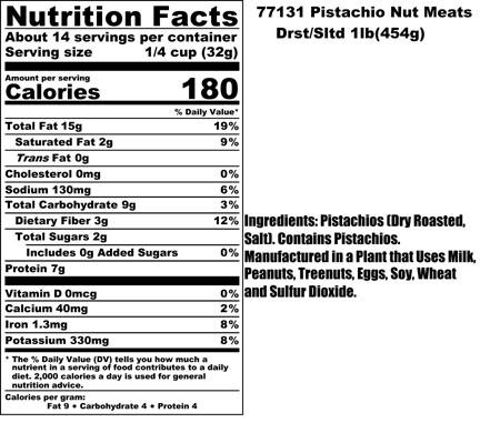 Pistachio Nut Meat Nutritionals