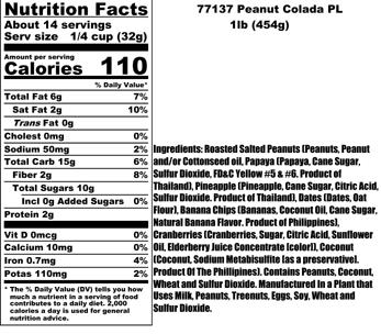 Peanut Colada Nutritional