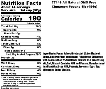 Cinnamon Pecan Nutritional