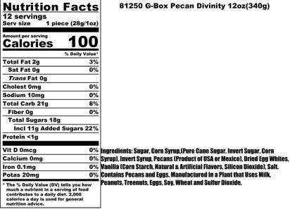 Pecan Divinity Nutritional