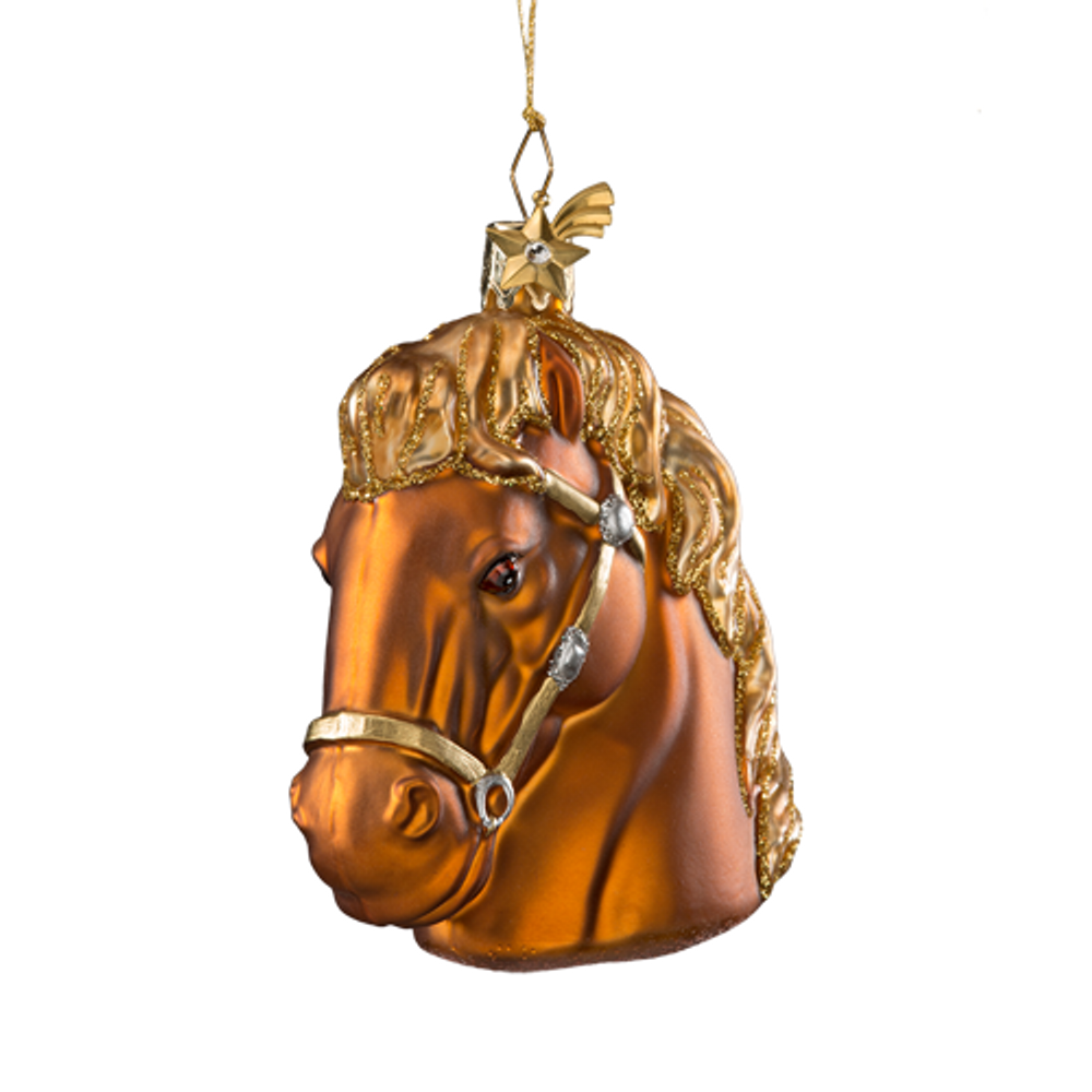 Brown Horse Glass Ornament