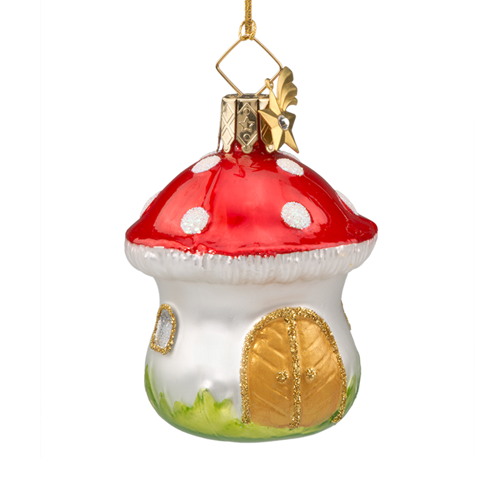 Mushroom House with Gold Doors Glass Ornament