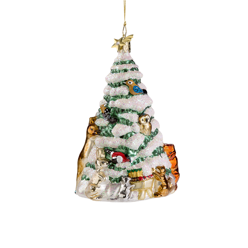 Tree with Forest Animals Glass Ornament