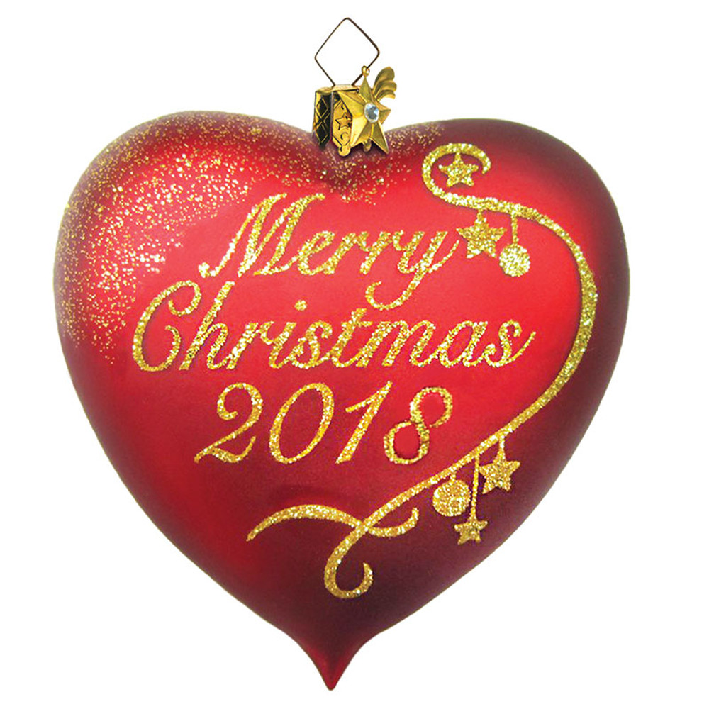 Merry Christmas Glass Heart 2018 Ornament