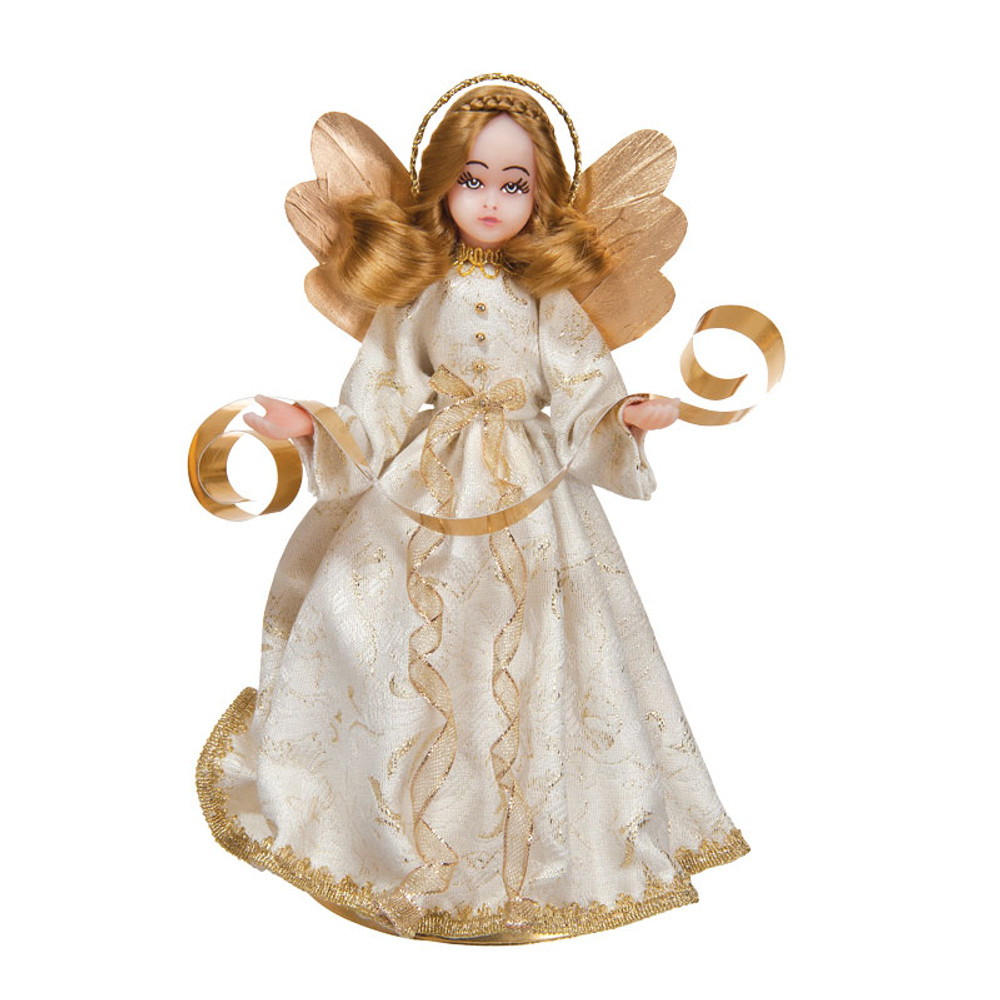 Choir Wax Angel in White Gown with Gold
