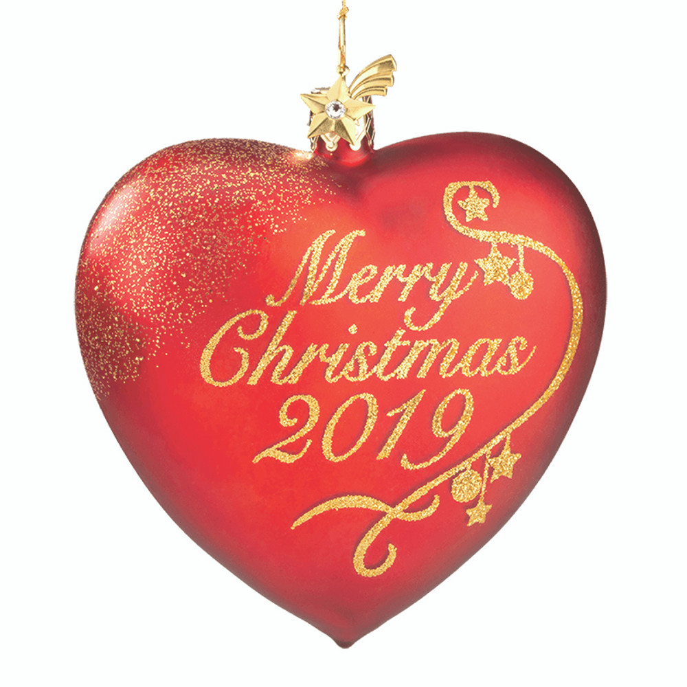 Merry Christmas Glass Heart 2019