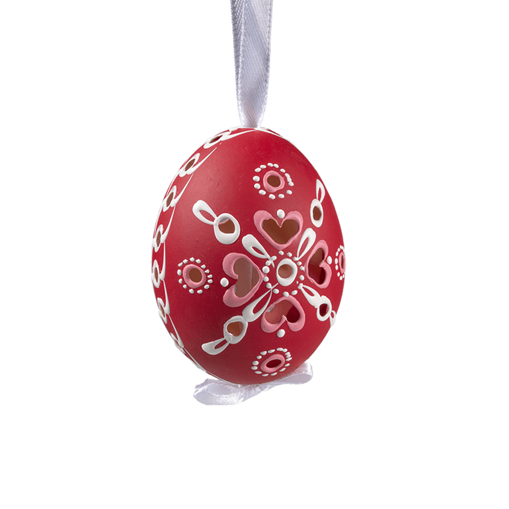 Easter Egg Red with Hearts
