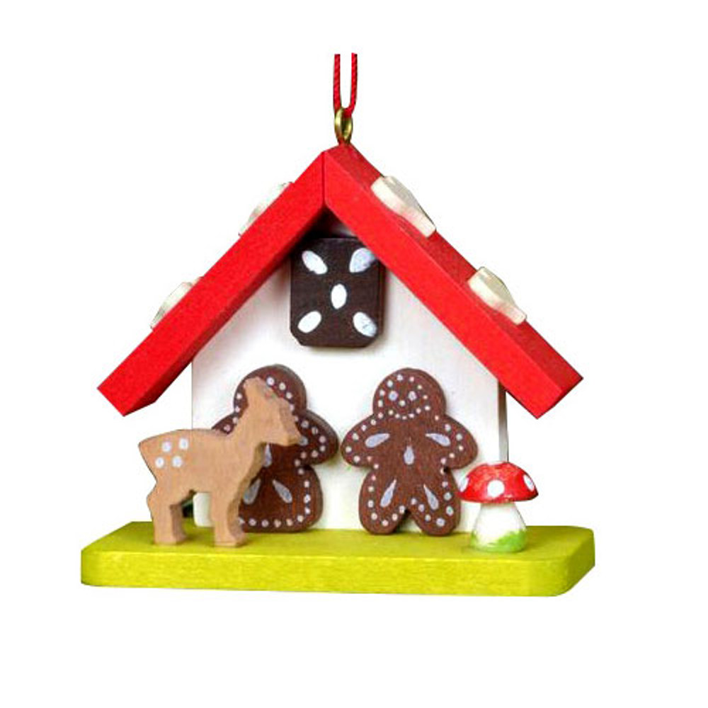 Gingerbread House with Deer  Wood Ornament