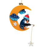 Winter Penguin Moon Wood Ornament