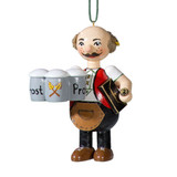 Waiter with Beer Wood Buddy Ornament