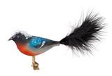 Snowy Black Tail Bird Clip