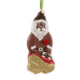 Chocolate Santa Country Wood Ornament
