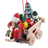 Cart with Santa Wood Ornament