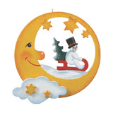Moon with Snowman on Sled