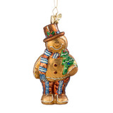 Gingerbread Snowman with Tree Glass Ornament