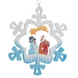 Frosty Santa with Snowman Wood Ornament