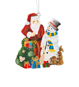 Santa and Snowman with Forest Animals Pewter Ornament