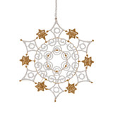 Starched Linen Snowflake with Gold Stars