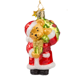 Teddy Bear Santa with Gifts Glass Ornament