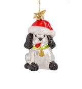 Chirstmas Dog Glass Ornament
